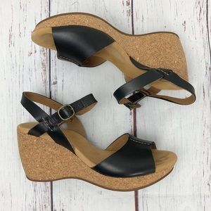 Clarks Leather and Cork wedge sandals size 9.5